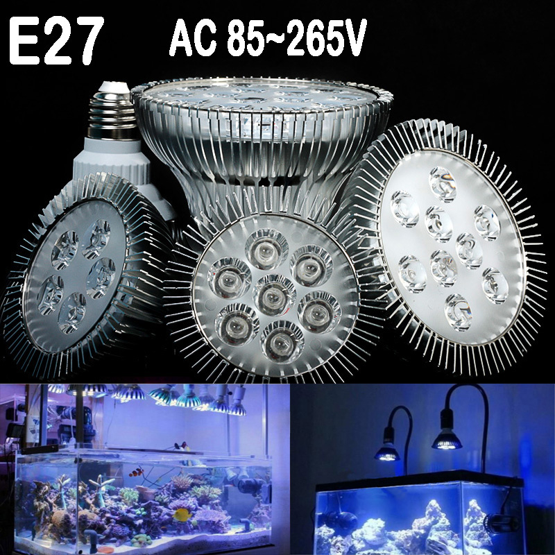 (1 pezzi / lotto) E27 LED Aquarium lampada, AC85-265V, 15 W / 21 W / 27 W / 36 W / 45 W / 54 W, piante acquatiche Grow Light blub Per Fish Tank Lighting