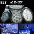 (1 pieces/lot) E27 LED Aquarium lamp , AC85-265V, 15W/21W/27W/36W/45W/54W, water plants Grow Light blub For Fish Tank Lighting