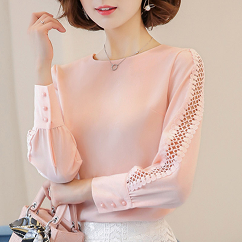 Blue Red White Chiffon Blouse Women Autumn 2019 Long Sleeve Ladies Office Shirts Korean Fashion Lace Hollow Out Women Top Blusas