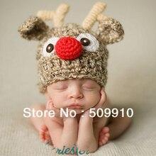 Cute Children Crochet Knit Deer Beanie Hat Baby Animal Cap Photo Props Infant ELF X Xmas Beanies 1pc BH1012
