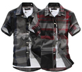 red black plaid shirt men short sleeve camisa masculina cotton casual men shirt slim fit plus size 6XL casual dress shirts