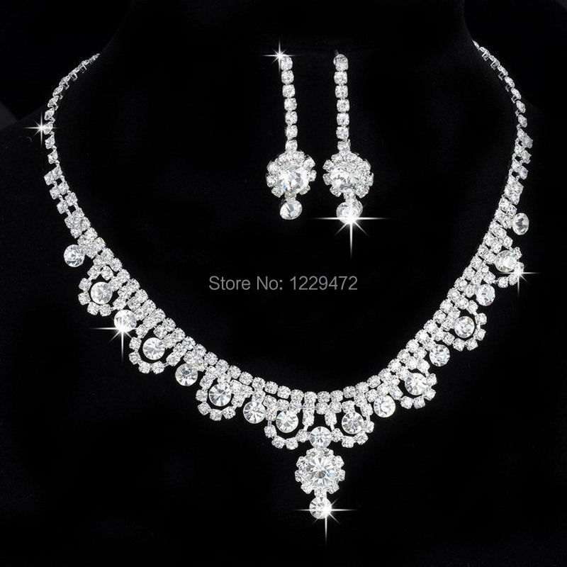 Costume Jewellery Sets Crystal Diamond Erfly Necklace Earrings Set Wedding Bride Prom Jewelry Uk