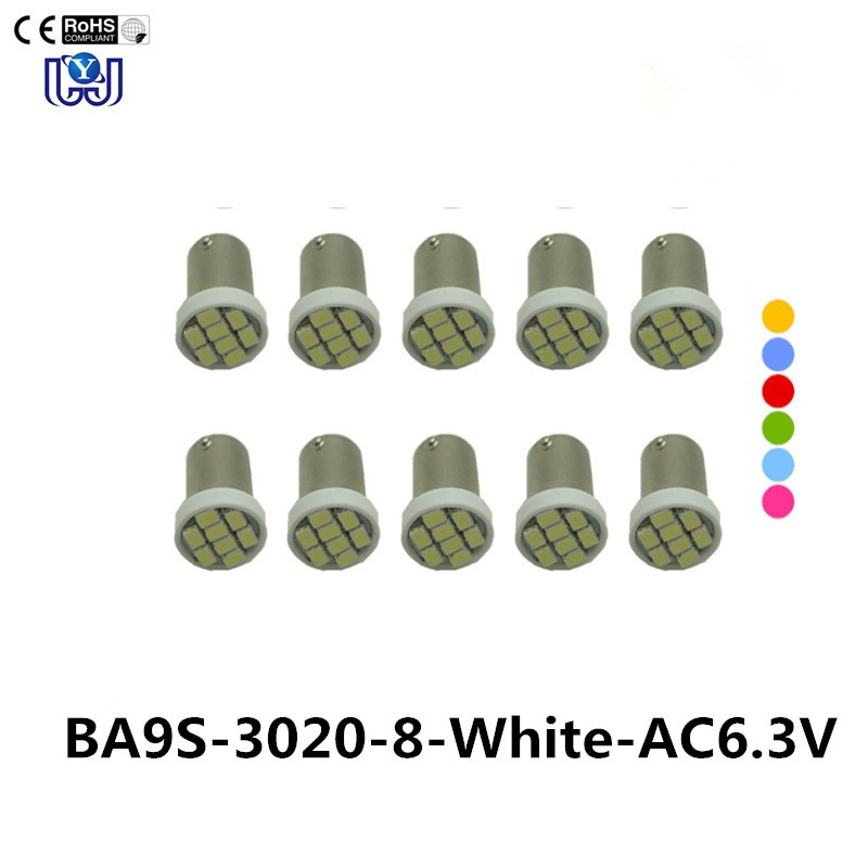100PCS #Ba9s #44 #47 Bayonet AC 6V/6.3V 1206 3020 8SMD LED Pinball Machine Light Bulb Lamp Non ghosting/anti flickering