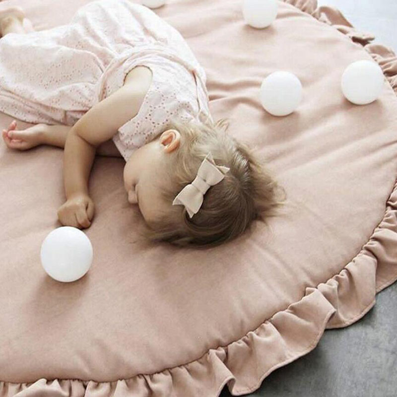Baby Play Mats Pink White Cotton Kids Rug Infant Bedding Lace Pink Blanket Cotton Game Pad Carpet For Children Carpet 100CM