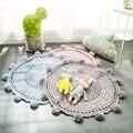 Handmade Pequena Bola de Fios de Malha INS Venda Quente 3 Cor Sólida Fotografia Adereços Decoração Do Quarto Do Bebê Crochet Cobertor/Tapete