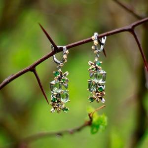 Image 2 - Beautiful Lt Green Crystal Earrings Ring Jewellery Flower Design Multi Zircon Brass Metal 2pcs Jewelry Sets For Mom Gifts