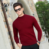 MIVI Brand 2017 Fashion Men Sweaters Fall Winter Thick Warm 100% Wool Pullover Long Sleeve Top Slim Cashmere Male Sweater