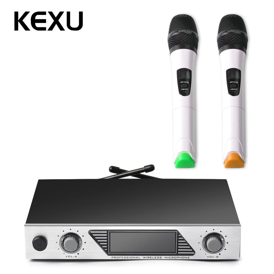 KEXU VHF Handheld Wireless Microphone System with Dual Hand Held Dynamic Microphones for Karaoke Party Classroom Meeting weisre vhf wireless microphone system dual channel handhold dynamic cardioid microphones for karaoke party conference wedding