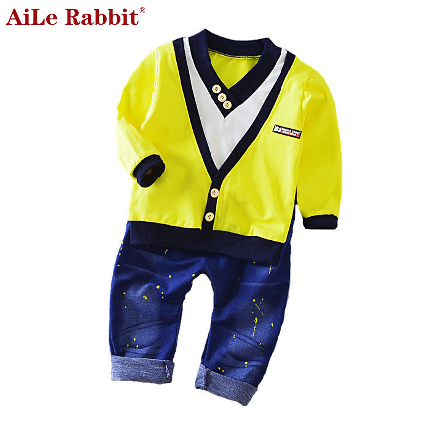 2017 Spring New Boy Fashion Suits T-shirt and Pants 2 Sets of Children`s Wear Set Fake Two-piece V-neck Cowboy Suit 0-5 Years