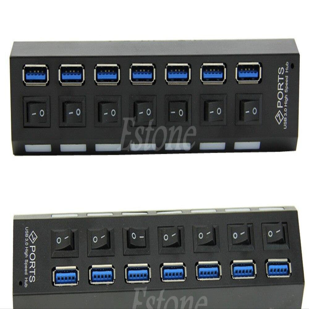 7 Port USB 3.0 Hub Avec On/Off + Adaptateur UE Pour PC Portable TR