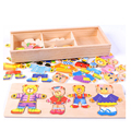 1 Set 3D Cartoon Bear Wooden Dress Up Puzzle Jigsaw Clothes Bear Family Storage Box Changing Clothes Cognitive Toy For Children