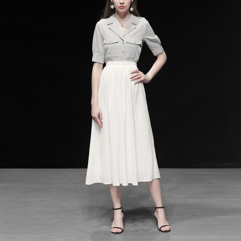 GoodliShowsi 2019 простой дизайн женский комплект из двух предметов однотонный однобортный короткий рукав блузка Топ шифон белые повседневные юбк