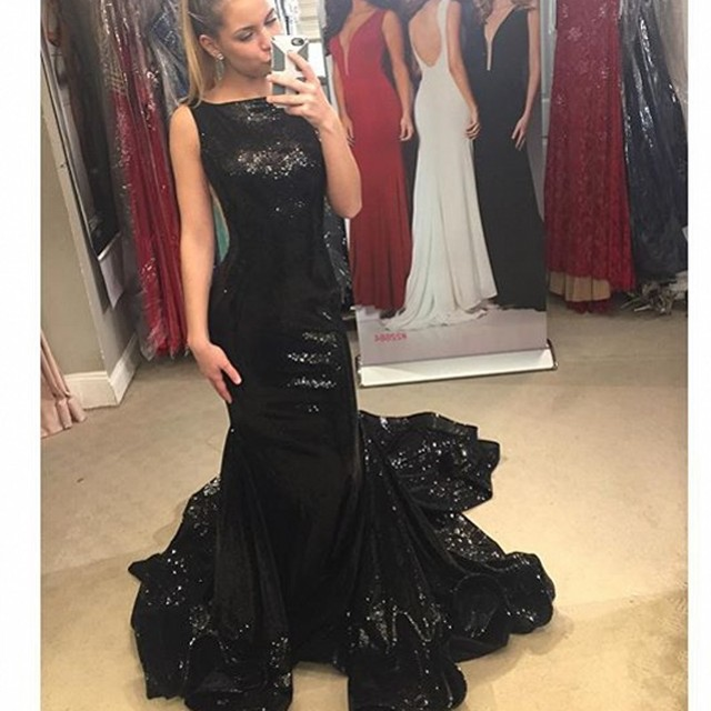 s Sequined Backless Long Elegant Black Prom Dresses 2016 New Fashion Boat  Neck Ombre Dress a32045536