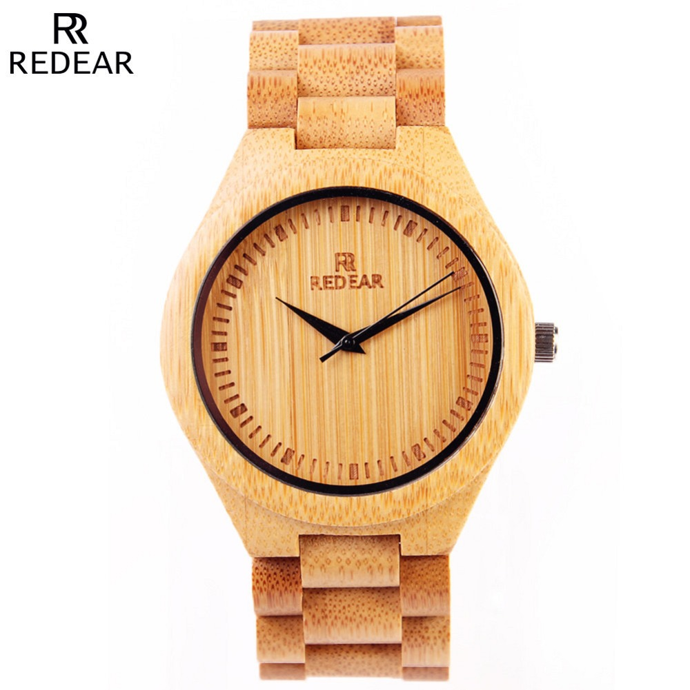 ФОТО New Arrivals Men Fashion Bamboo Watch Luxury Brand REDEAR Relojes Natural Bamboo Strap Women Watches Japan Quartz Watch Relogio