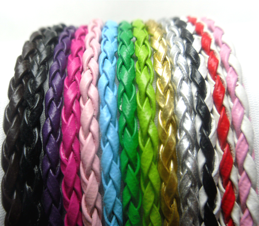 Braid PU leather Beading Cord 4mm dia. Beading Wire Handcraft Accessory for bracelet &amp necklace Length 1-11M 12 colors
