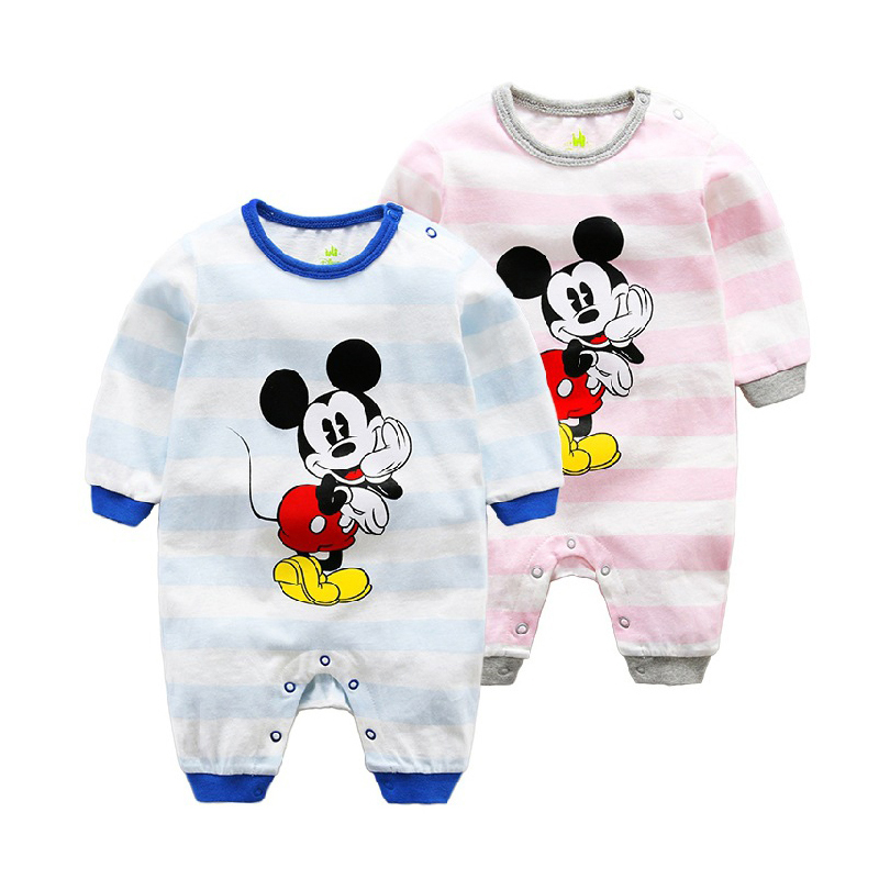 02b3c2e5db79f Disney 2017 Newborn Baby Rompers Girls And Boys Cartoon Cute Long Rompers  Cotton Mickey Minnie Mouse Pullover casual Jumpsuit-in Rompers from Mother    Kids ...