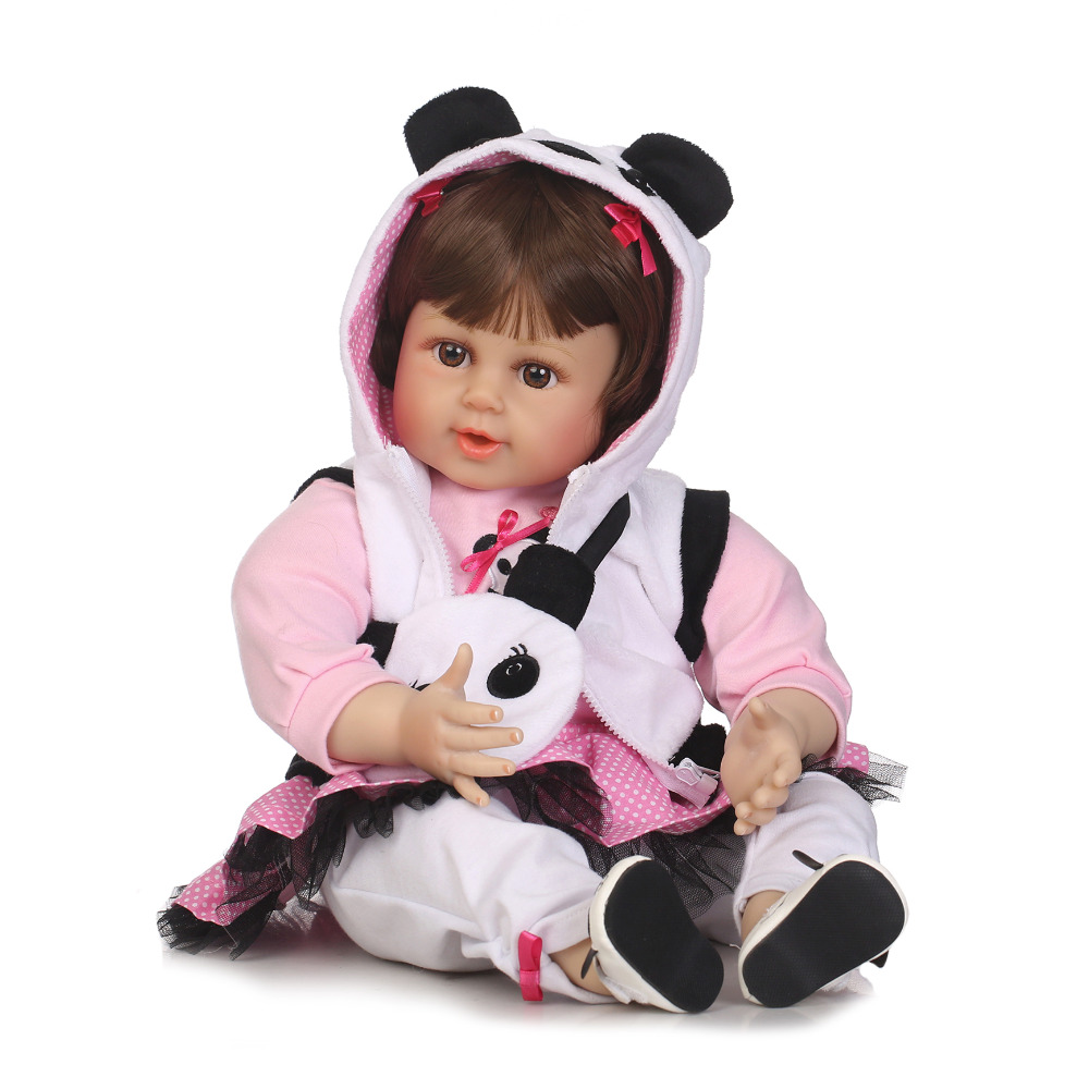 Nicery 22inch 55cm Lifelike Reborn Baby Lovely Girl Doll High Vinyl Christmas Toy Gift for Children Panda Clothes Panda Bag largest size 95cm panda plush toy cute expression panda doll birthday gift w9698