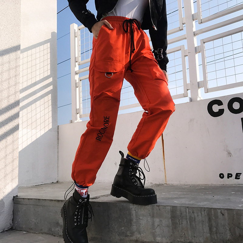 OneBlin Women Elastic High Waist   Pants   Women Letter Printed Harem   Pants     Capris   Streetwear Ladies Trousers Pockets Joggers