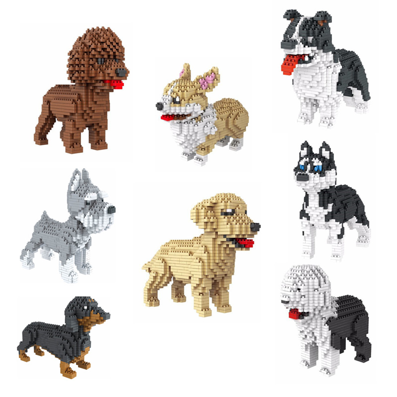 2019 Building Star Pet Teddy Schnauzer Dachshund Husky Corgi Collie Dog 3d Animal Model Diamond Mini Building Nano Blocks Toy