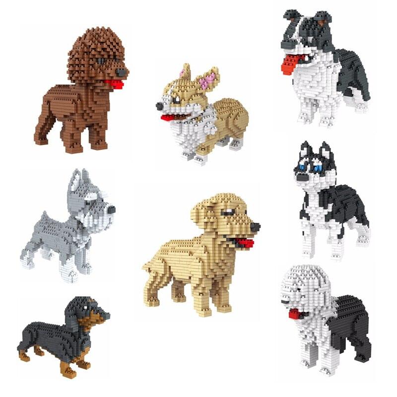 2019 Building Star Pet Teddy Schnauzer Dachshund Husky Corgi Collie Dog 3D Animal Model Diamond Mini Building Blocks Toy