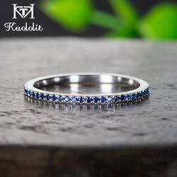 Kuololit 10K zespół naturalny szafir kamień stałe złote pierścionki dla kobiet Handmade wieczność zespół dla panny młodej mała biżuteria ślubna