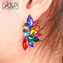 a58e988d9 X&P Trendy Brand Opal Stone Gold Earrings for Women Girl Fashion Elegant  Geometric Flowers Crystal Stud Earring Jewelry