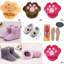 Slippers Heating-Pad Foot-Warmer USB Print Electric Shoes Computer Big-Foot Leopard Cartoon