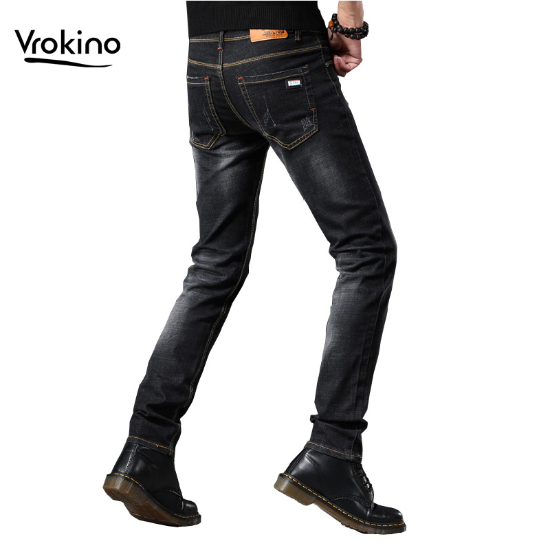 VROKINO Brand 2019 Autumn And Winter New Style Men's Casual Slim Jeans High Quality Men's Fashion Skinny Stretch Jeans