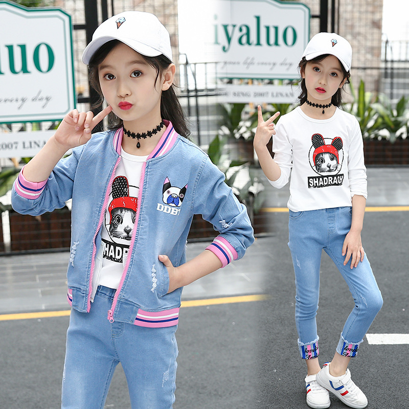 Girls Clothes Sets Kids Boutique Outfits Children Denim Jacket + T-shirt +Jeans 3 Piece Suit Teenager Girls Clothing 10 12 Years children clothing 6 8 9 10 11 12 years girls clothes suit cartoon jacket cotton long sleeve t shirt jeans boys clothes sets 3pcs