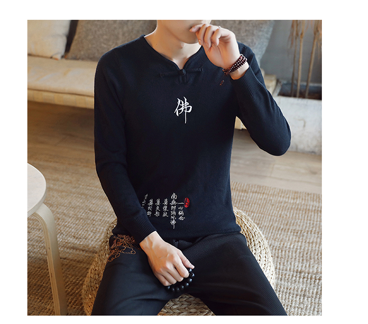 Chinese style Buddha embroidery Pull Homme Pullover Men spring autumn Casual sweater knit leisure Jersey Hombre Cotton v-neck 67