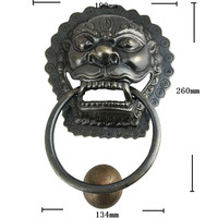 Brass Chinese Vintage Animal Beast Head Furniture Door Pull Handle 190 260mm