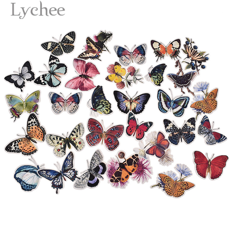 Lychee Life 31 шт. наклейки в виде бабочек красочные клейкие наклейки для дневника DIY альбом художественные изделия украшение для скрапбукинга