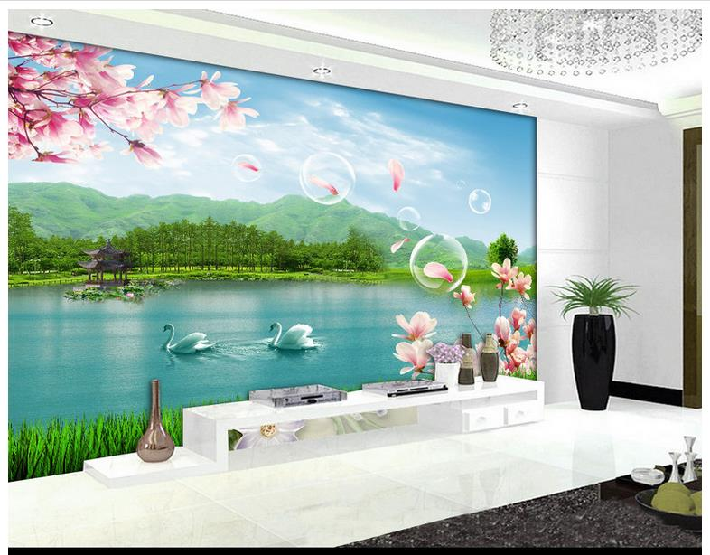 Custom 3d Mural Wallpapers Hd Landscape Mountains Lake: Custom High End Mural 3d Wallpaper Murals Wall High