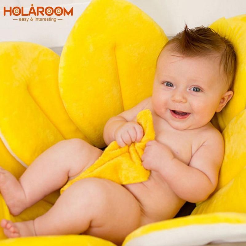 Newborn Baby Bathtub Foldable Blooming Bath Flower Bath Tub Blooming Sunflower Baby Seat Mat Baby Play Bath Cushion Anti-Slip
