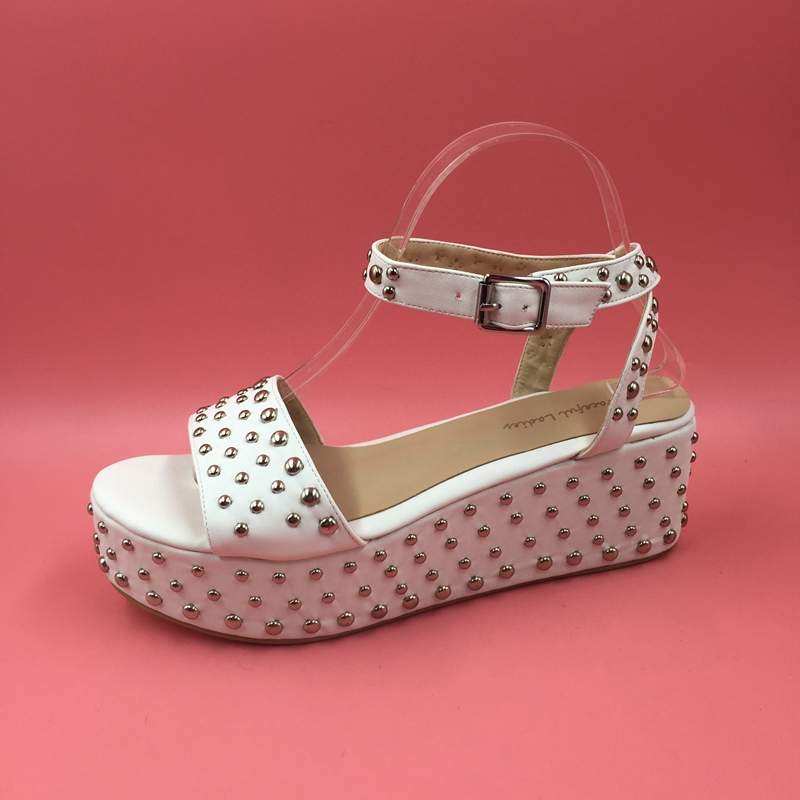 cae8742323 Causal Comfortable Low Heel Women Sandal With Silver Rivets Ankle Strap  Slingbacks Wedge Heels Open Toe Women Designer Sandals