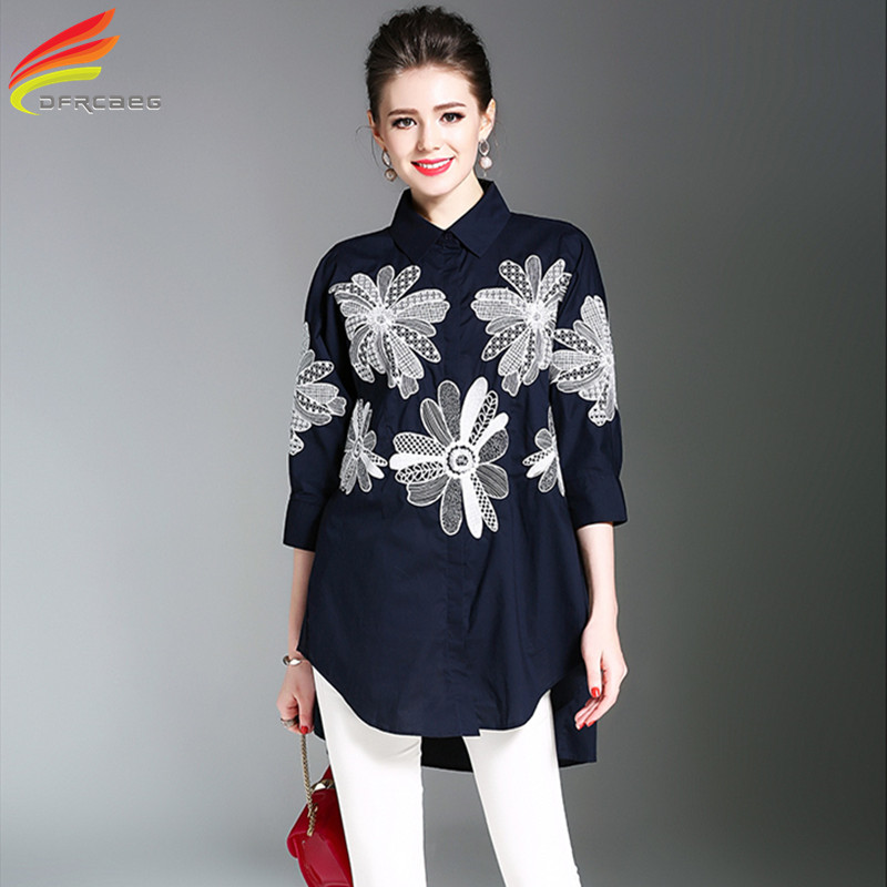 Dfrcaeg loose big size embroidery blouses 2017 fashion for Womens white shirts high quality