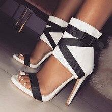 Summer Women Sandals PU Buckle Strap Thin Heels 11.5CM Color matching High Heels Pumps Lady Sandal woman Shoes цены