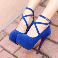 Plus Size 34 42 High Thin Heels Shoes Spring Autumn Pumps T Strap Buckle Strap Retro