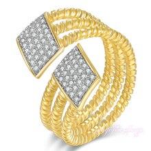 Mytys Moda Geométrica 18 K Anillo Chapado En Oro 7 8 9 Manguito de Tamaño Ajustable Para Las Mujeres Crystal Pave Configuración R1163