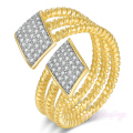 Mytys Fashion Geometric  Gold Plated 7 8 9 Adjustable Size Cuff Ring For Women Crystal Pave Setting R1163