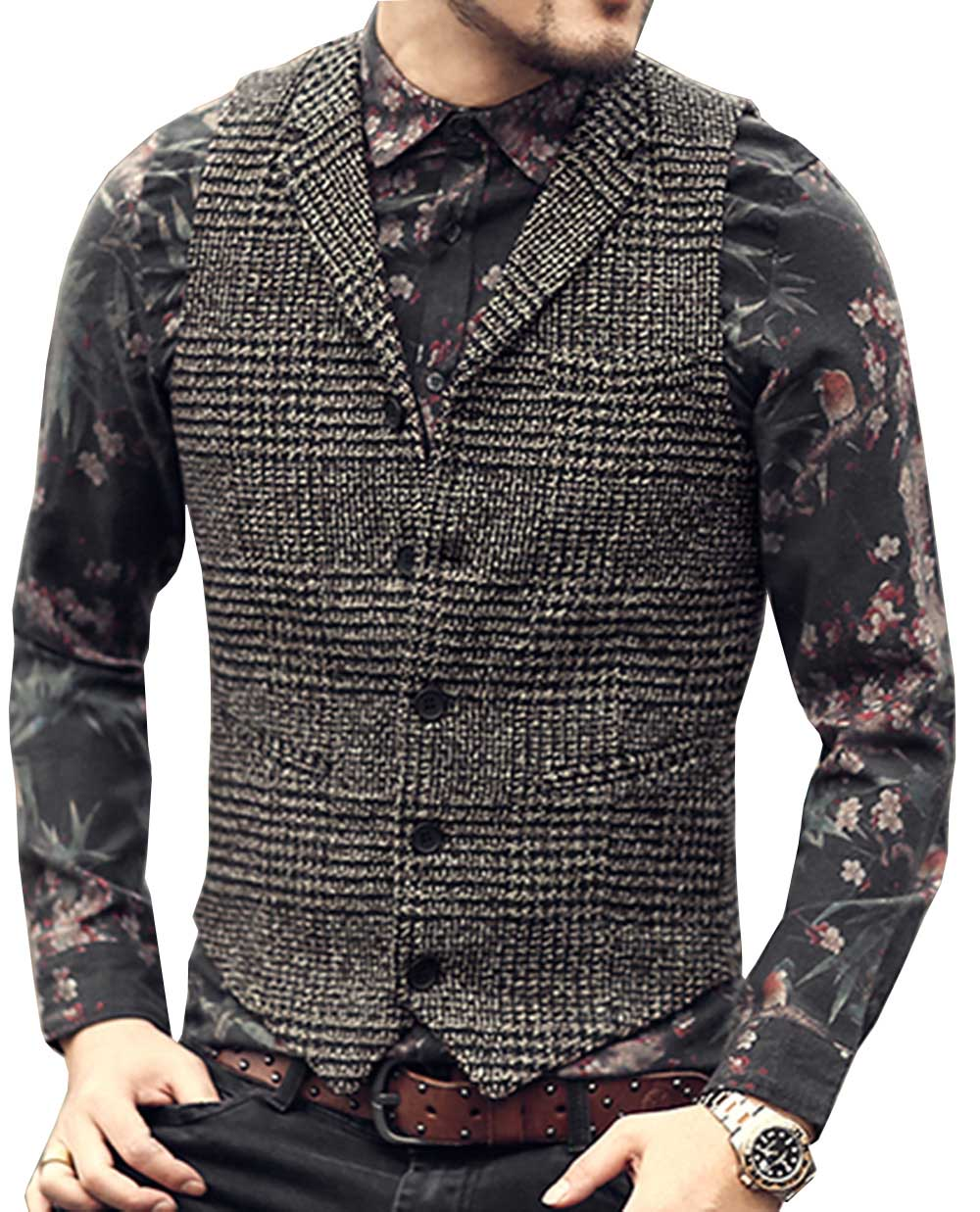 Mens Suit Vest Lapel Neck Wool Brown Single-breasted Slim Fit Waistcoat Casual Formal Business Groomman For Wedding Best Man
