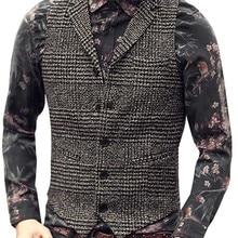 Suit Vest Waistcoat Brown Wedding Business Wool Formal Best-Man Casual Mens Single-Breasted
