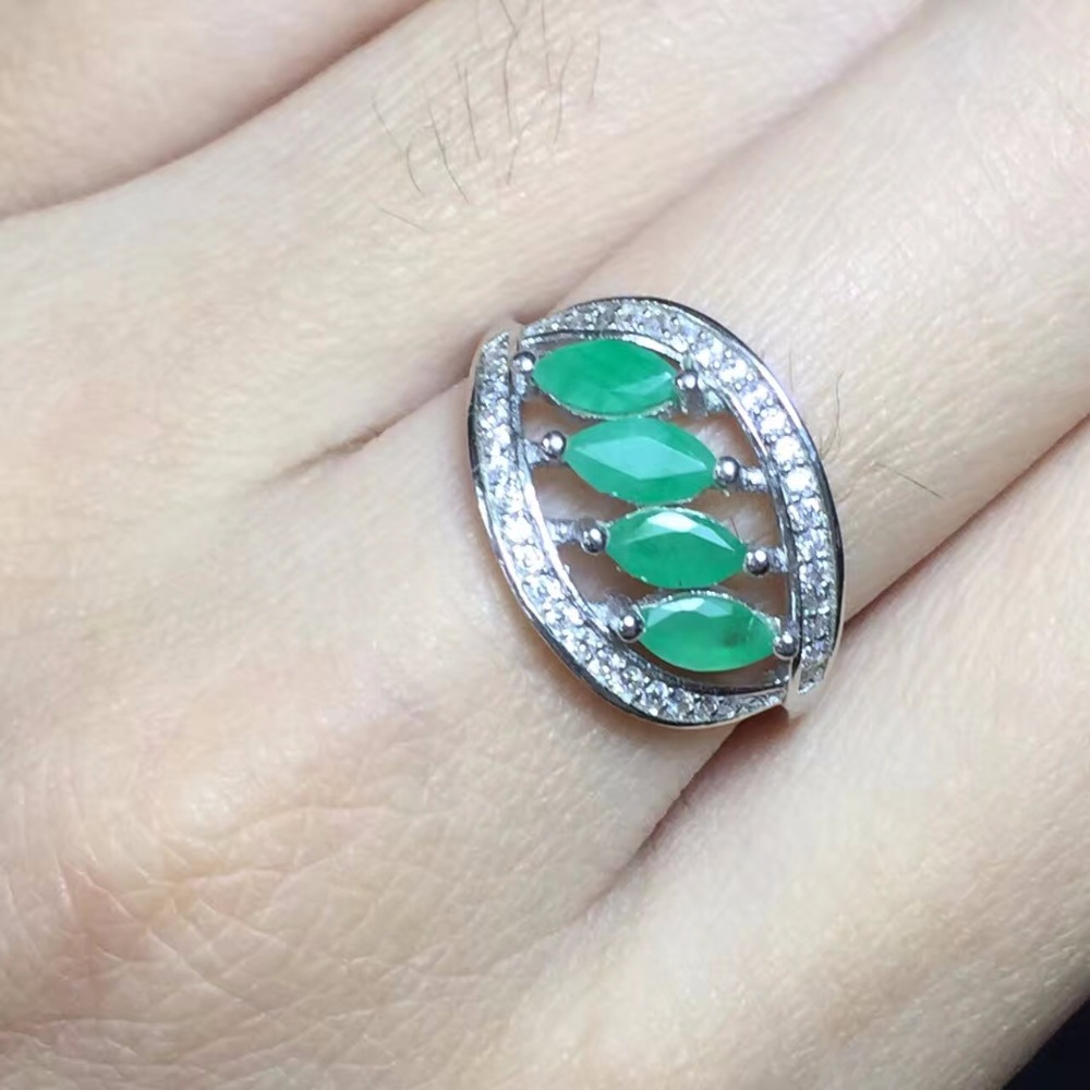 Uloveido Natural Emerald Ring 925 Sterling Silver Exaggerated Tree Leaf Rings Wedding Engagement Jewellery Certificate FJ347