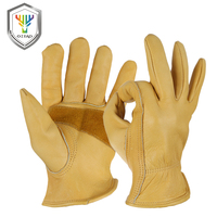Men S The Cowhide Work Gloves Driver Sports Moto Safety Good Grip Palm Padding Anti Cold