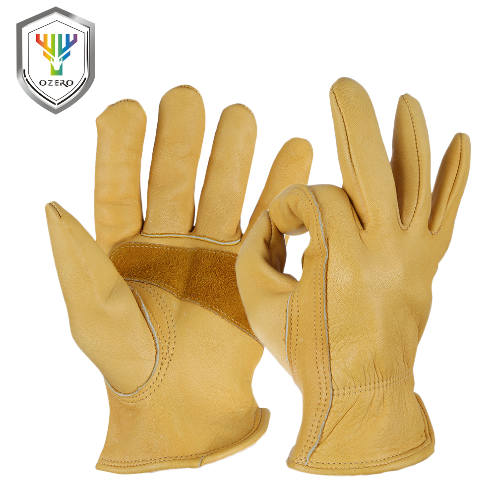 Leather work gloves ireland - Men S The Cowhide Work Gloves Driver Sports Moto Safety Good Grip Palm Padding Anti Cold Anti