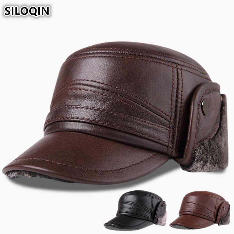 Detalle Comentarios Preguntas sobre SILOQIN de cuero genuino sombrero de  los hombres de invierno 06add6aaf4e