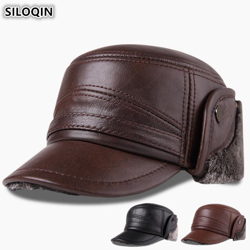 SILOQIN Genuine Leather Hat For Men Winter Plus Velvet Thick Warm   Baseball     Cap   With Earmuffs Men's   Cap   Cowhide Leather Warm Hats