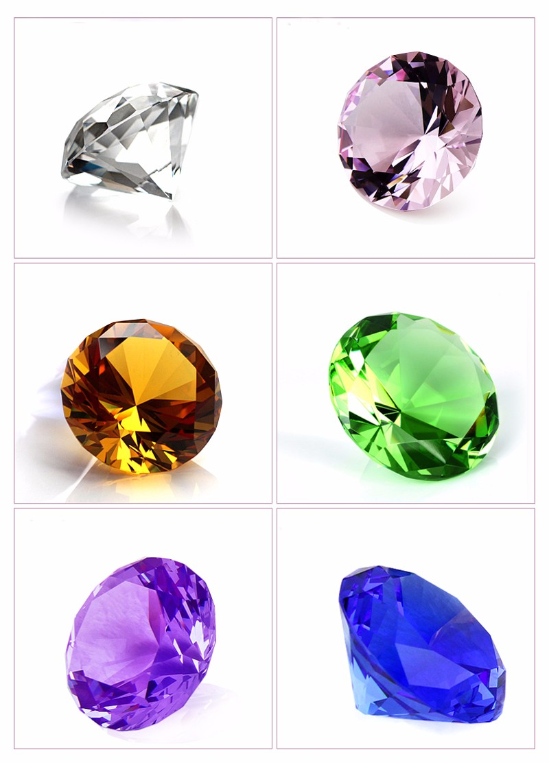3CM Diameter Quartz Crystal Diamond 3D Glass Beads Ornaments 9 Colors Natural Stone Minerals for Gifts Home Decor Amethyst Stone 11