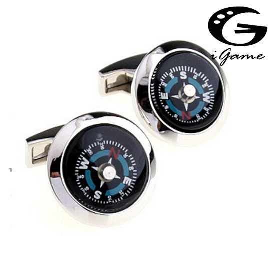 Free shipping Functional Compass Cufflinks Novelty Design Top Quality Copper Cuff Links Wholesale&retail