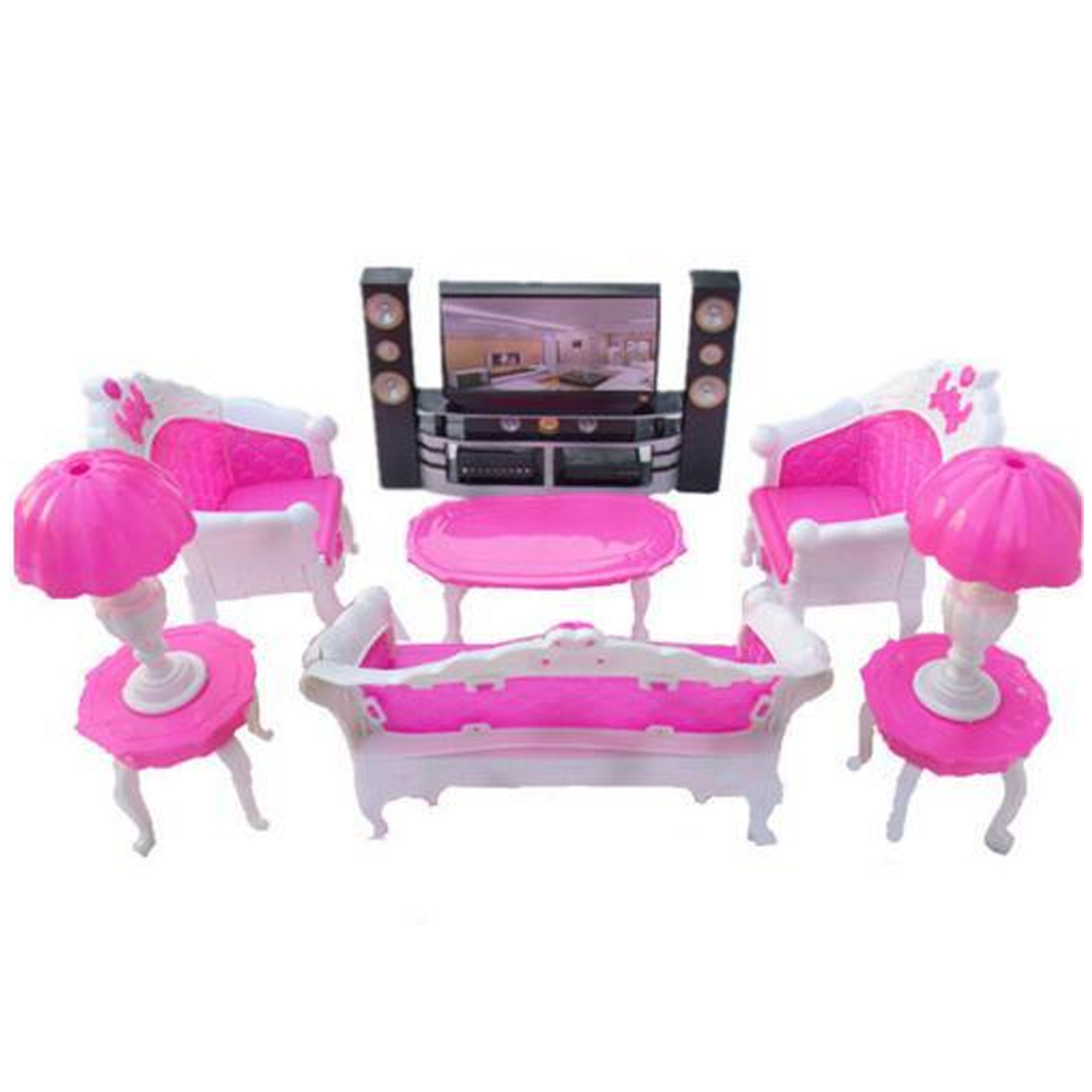 Kids 7PCS Rose Pink Plastic Mini Doll House Sofa Lamps Table TV Cabinet Bedroom Dollhouse Furniture Accessories For Barbie Toy